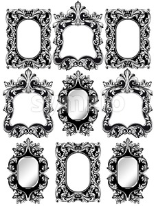 Baroque frames set decor. Detailed rich ornamented framework. Vector illustration graphic line art Stock Vector