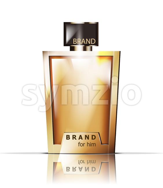 Golden perfume bottle Vector. Product packaging realistic detailed 3d illustration. Luxury gold fragrances