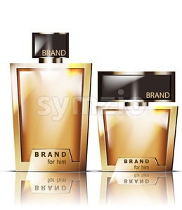 Golden perfume bottles Vector. Product packaging realistic detailed 3d illustration. Luxury gold fragrances Stock Vector