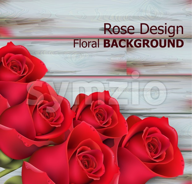 Red roses on wooden background Vector realistic. Beautiful floral background Stock Vector