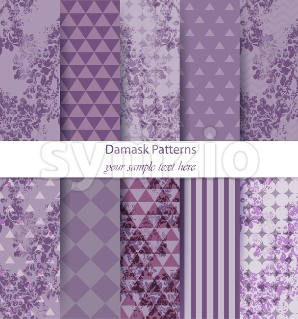 Damask pattern set collection Vector. Baroque ornament on modern abstract background. Vintage decor. Trendy color fabric texture