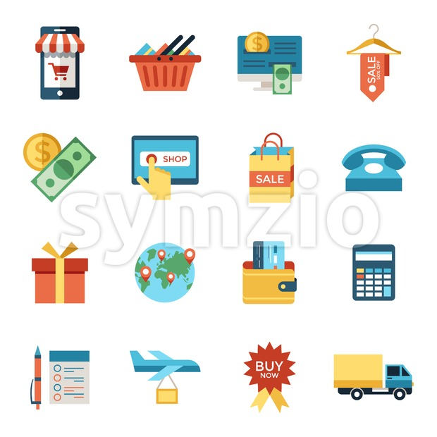 Digital vector line icons set mobile shopping and store illustration with elements for online electronic commerce Stock Vector