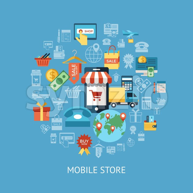 Digital vector line icons set mobile shopping and store illustration with elements for online electronic commerce infographics