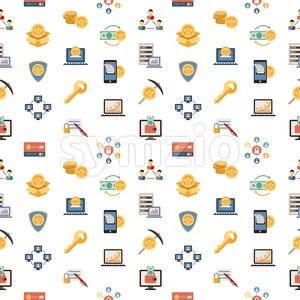 Digital vector line icons set blockchain pack illustration with elements for cryptocurrency, seamless pattern Stock Vector