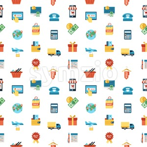 Digital vector line icons set mobile shopping and store illustration with elements for online electronic commerce, seamless pattern Stock Vector