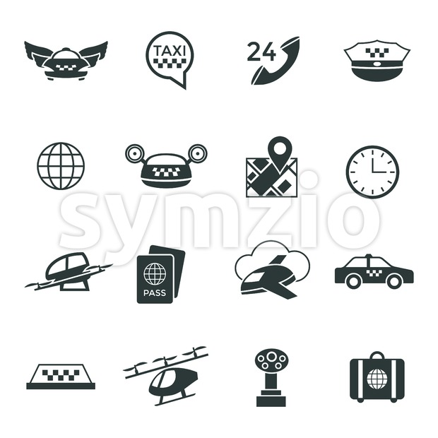 Digital vector flying taxi drone icon set pack illustration, simple line flat style Stock Vector