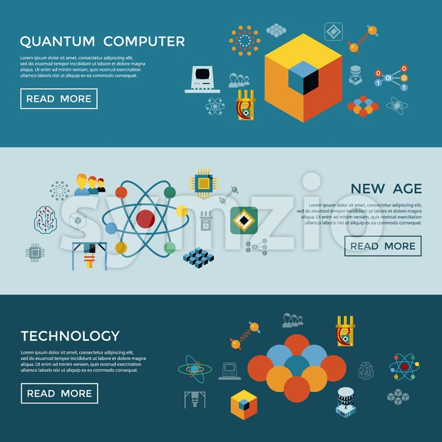 Digital vector quantum computing and new age qubits icon set pack illustration, simple line flat style infographics