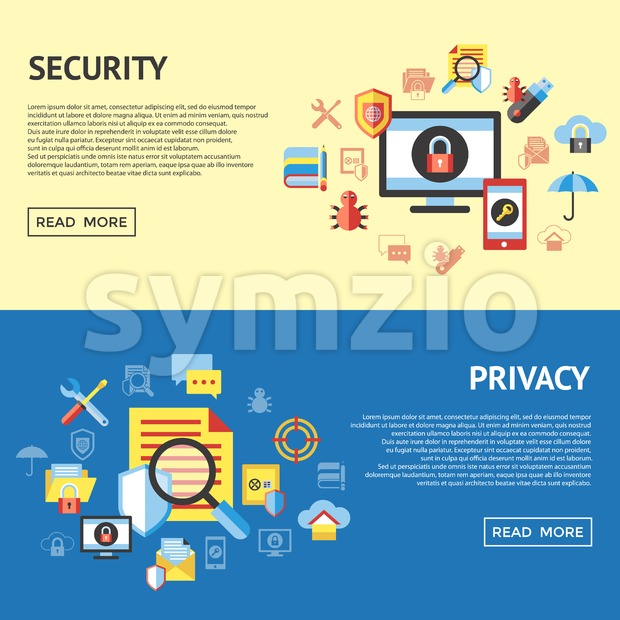 Digital vector data securuty and privacy protection icon set pack illustration, simple line flat style infographics