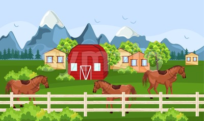Horses farm, green field Vector. Farm ville summer day backgrounds Stock Vector