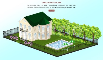 Big house Vector. White house classic style with pool outdoors illustration Stock Vector