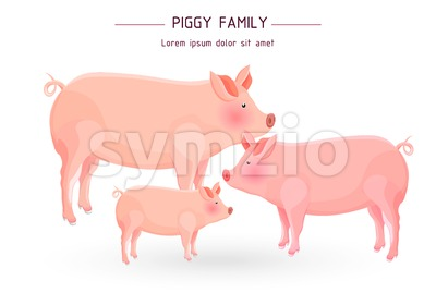 Pig family card Vector. cartoon illustration. white background Stock Vector