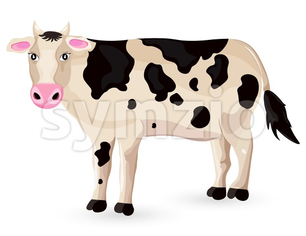 Cow isolated on white Vector. Cartoon character detailed illustration