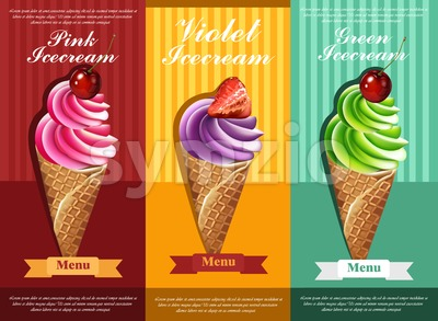 Ice cream set Vector. Colorful different flavors dessert banner illustration Stock Vector