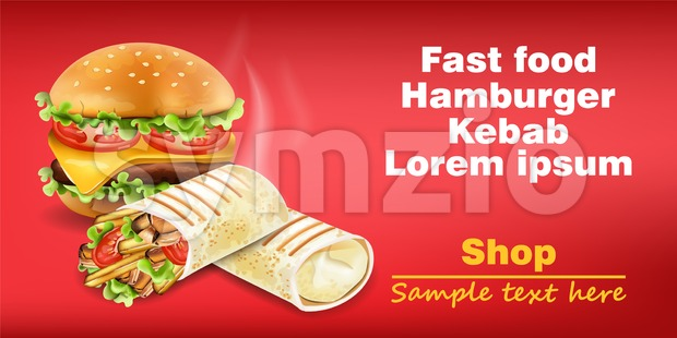 Burger and Shawarma Kebab fast food Vector. Detailed illustration