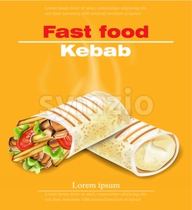 Shawarma Kebab fast food Vector. Detailed illustration Stock Vector