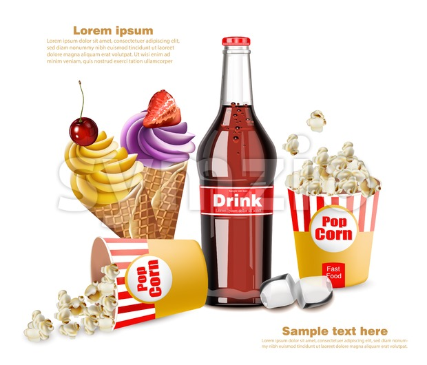 Popcorn, icecream and soda drink Vector. 3d realistic illustration Stock Vector