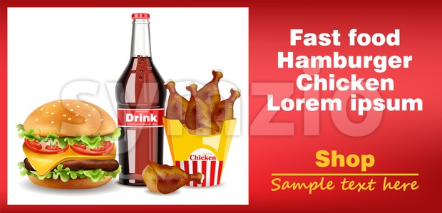 Hamburger, chicken wings and soda drink banner Vector. detailed 3d illustration Stock Vector