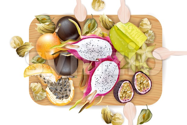 Exotic fruits pattern Vector realistic. Dragon fruit, granadilla, passion fruits, starfruit, physalis composition ready to eat. top view Stock Vector