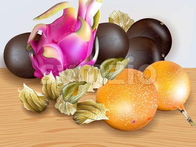 Exotic fruits Vector realistic. Dragon fruit, granadilla, passion fruits, physalis 3d illustration Stock Vector