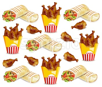 Chicken wings and shawarma Vector pattern. Fast food background Stock Vector