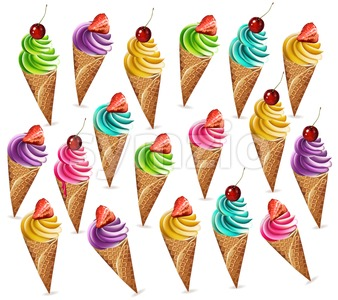 Ice cream pattern Vector. Colorful different flavors dessert banner illustration Stock Vector