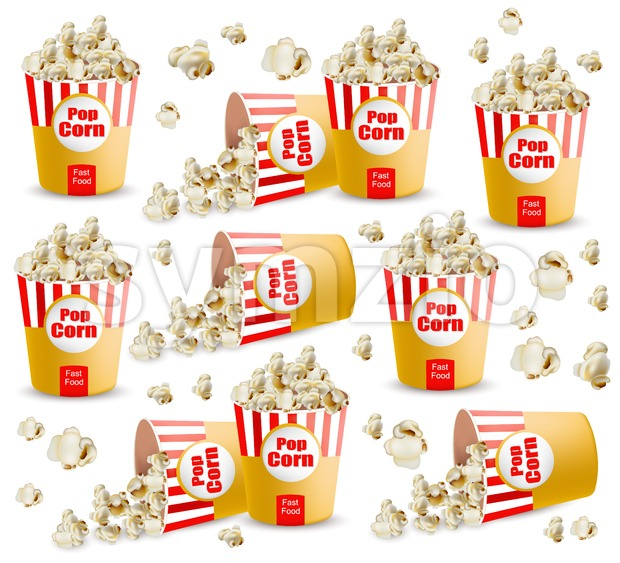 Popcorn pattern Vector realistic. 3d detailed illustration Stock Vector