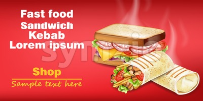 Sandwich and kebab Vector realistic mock up. Fast food 3d detailed illustration Stock Vector