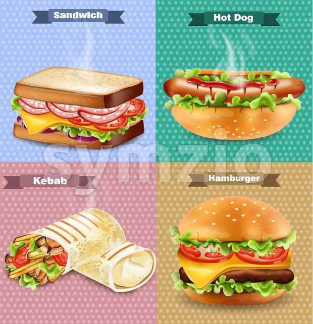 Burger, sandwich, hot dog and wrap Vector. Realistic banners set collection Stock Vector