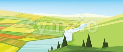 Vector abstract green landscape Stock Vector