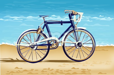 Realistic Bicycle on the beach card Vector. Detailed 3d illustration Stock Vector