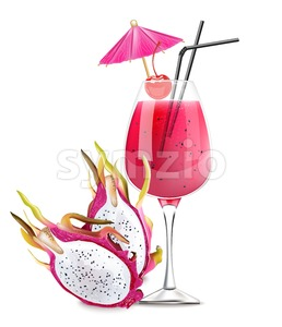 Dragon fruit cocktail Vector. Realistic summer drink tropic juice 3d illustration Stock Vector