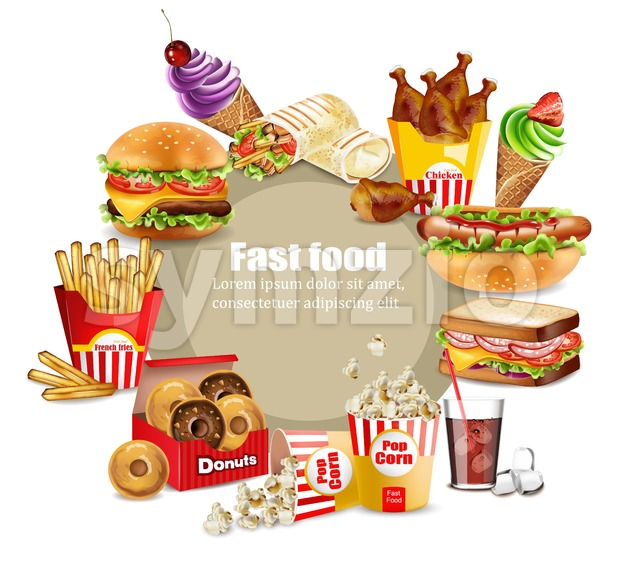 Fast food meals set Vector. Realistic detailed collection banner with hotdog, burger, sanwich, french fries, donuts, ice cream, pop corn