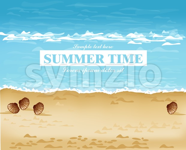 Beach shore summer card Vector. Waves, blue sea and Sand background Stock Vector
