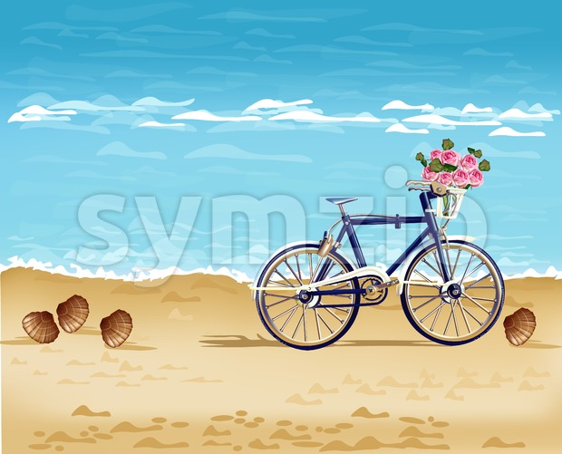 Bicycle on the beach card Vector realistic. Summer travel. Detailed 3d illustration Stock Vector