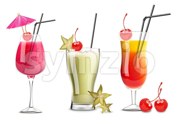 Tropic fruits cocktail glasses set collection Vector realistic. Cherry, carambola and berry fresh drinks 3d illustration Stock Vector