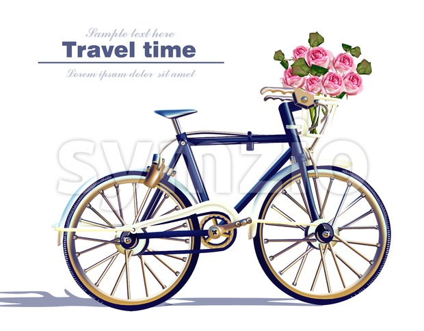 Bicycle travel card Vector realistic. Detailed 3d illustration