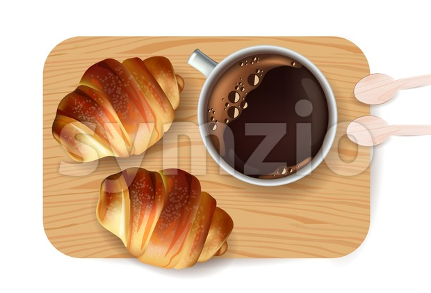 Croissant pattern Vector. Sweet dessert breakfast menu Stock Vector