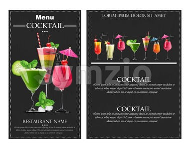 Cocktail drinks Vector realistic banner flyer layout. Night party template with summer drinks collection. 3d illustration Stock Vector
