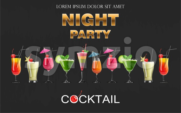 Cocktail drinks Vector realistic banner. Night party template with summer drinks set collection. 3d illustration