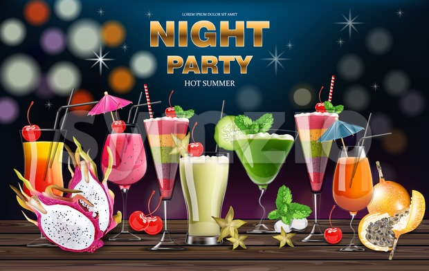 Cocktail drinks Vector realistic banner. Night party template with summer drinks collection. 3d illustration