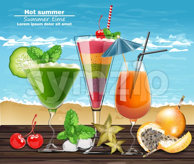 Summer Cocktail drinks Vector realistic banner. Beach hot template with exotic tropical drinks collection. 3d illustration