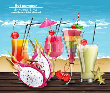 Summer Cocktail drinks Vector realistic banner. Beach hot template with exotic tropical drinks collection. 3d illustration Stock Vector