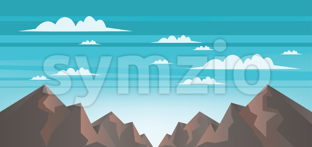Abstract landscape with brown mountains, white clouds and blue skies Stock Vector