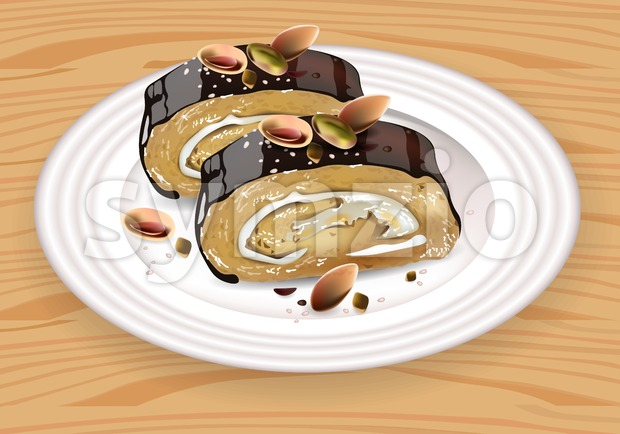 Homemade Chocolate and pistachio roll dessert on white plate Vector illustration Stock Vector