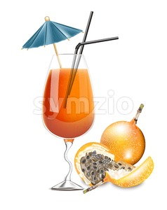 Granadilla fruit cocktail Vector. Realistic tropic summer drink juice 3d illustration Stock Vector