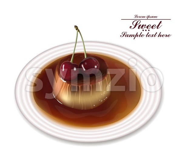 Panna cotta dessert Vector. Sweet breakfast with cherry on white plate