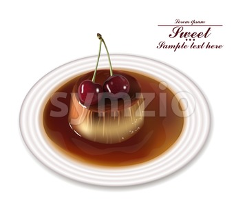 Panna cotta dessert Vector. Sweet breakfast with cherry on white plate Stock Vector