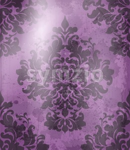 Vintage Baroque pattern background Vector. Ornamented texture luxury design. Royal textile decor violet color Stock Vector