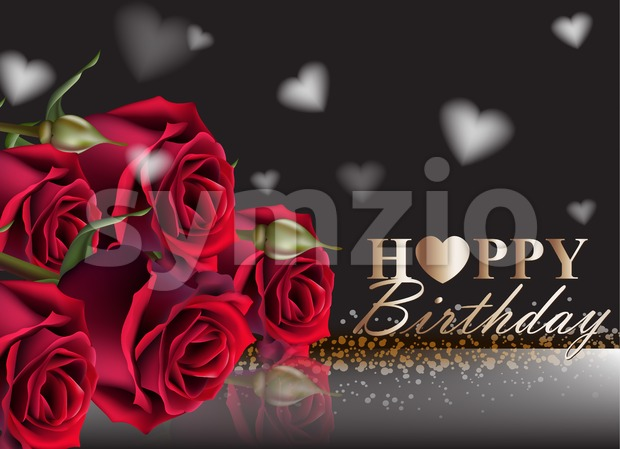 Happy birthday red roses background Vector. Vintage floral decor black color