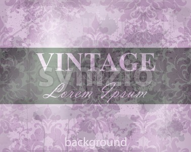 Vintage Baroque pattern grunge background Vector. Ornamented texture luxury design. Royal textile decor violet color Stock Vector